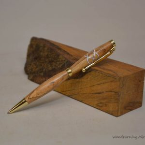 Beech fancy slimline white Celtic knot pen