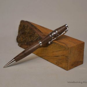 Walnut fancy slimline silver Celtic knot pen